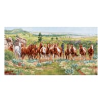 "Elizabeth's Studio Wild and Free 37"" Horse Cream Panel"