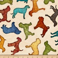 QT Fabrics Must Love Dogs Dog Toss Oatmeal