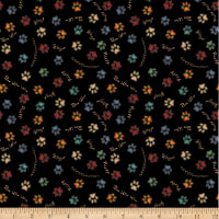 QT Fabrics Must Love Dogs Paw Prints Black