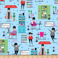 QT Fabrics Crazy For Crafting Crafting Vignette Allover Blue