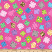 QT Fabrics Crazy For Crafting Fabric Patches Dark Pink