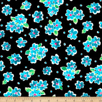 QT Fabrics  Delilah Tossed Floral Black / Turquoise