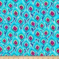 QT Fabrics  Delilah Feathers Turquoise