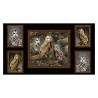 "QT Fabrics Rebecca Latham Nocturnal Wonders Barred Owls Picture Patches 24"" Panel Black"