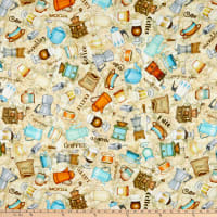 QT Fabrics Dan Morris Cafe All Day Everything Coffee Stone