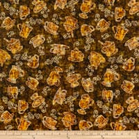 QT Fabrics Dan Morris Cafe All Day Tossed Coffee Cups Brown
