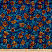 QT Fabrics Dan Morris Cafe All Day Tossed Coffee Cups Teal