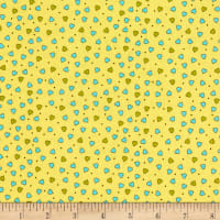 QT Fabrics Party Like A Unicorn Tiny Hearts Pale Yellow