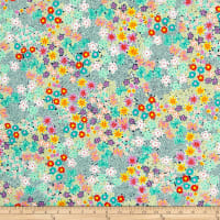 QT Fabrics  Adeline Packed Floral Light Green