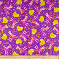 QT Fabrics Happy Easter Chicks & Bunnies Purple