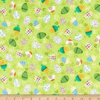 QT Fabrics Happy Easter Tossed Easter Eggs Spring Green