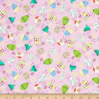 QT Fabrics Happy Easter Tossed Easter Eggs Pink