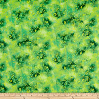 QT Fabrics  Annabelle Scroll Kelly Green