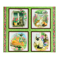 "QT Fabrics Fancy Felines Cats Picture Patches 36"" Panel Green"