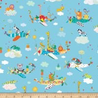 QT Fabrics Safari In The Sky Safari Animals In Planes Blue