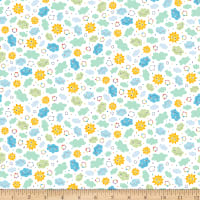 QT Fabrics Safari In The Sky Sunshine Clouds White