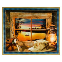 "QT Fabrics  Artworks Xi Sunset Lake 36"" Panel Multi"