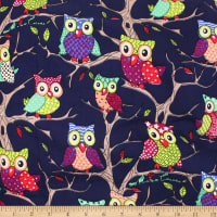 Telio Playtime Cotton Poplin Owls Navy Multi