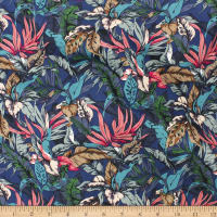 Telio Morocco Blues Stretch Cotton Poplin Floral Black Teal Rose