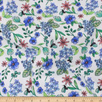 Telio Bloom Stretch Cotton Sateen Floral Blue
