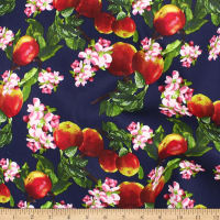Telio Bloom Stretch Cotton Sateen Apple Orchard Aqua Navy
