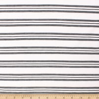 Telio Yarn Dye Stretch Bamboo Rayon Jersey Stripe White Grey Black