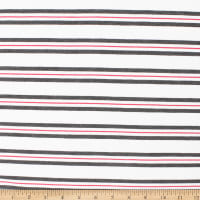 Telio Yarn Dye Stretch Bamboo Rayon Jersey Stripe White Grey Coral