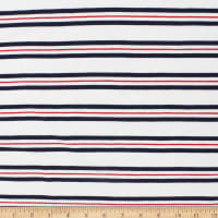 Telio Yarn Dye Stretch Bamboo Rayon Jersey Stripe White Grey Red