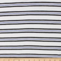 Telio Yarn Dye Stretch Bamboo Rayon Jersey Stripe White Grey Royal