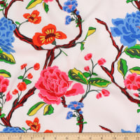 Telio Picasso Rayon Poplin Floral Rose Turquoise