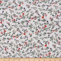 Telio Organic Stretch Cotton Jersey Floral Ecru Red