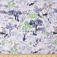 Telio Organic Stretch Cotton Jersey Sketch White Blue