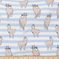 Telio Organic Stretch Cotton Jersey Llama Baby Blue