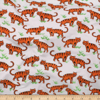 Telio Organic Stretch Cotton Jersey Tiger White Orange