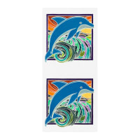 "Kaufman Painted 24"" Panels Dolphins Tropical"