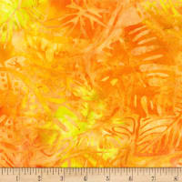 Kaufman Artisan Batiks Totally Tropical Multiple Leaves Sunshine