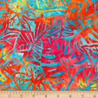 Kaufman Artisan Batiks Totally Tropical Multiple Leaves Rainbow