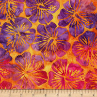 Kaufman Artisan Batiks Totally Tropical Hibiscus Sunburst