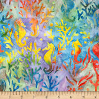 Kaufman Artisan Batiks Totally Tropical Seahorse Rainbow
