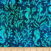 Kaufman Artisan Batiks Totally Tropical Seahorse Ocean