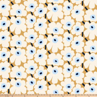 Marimekko Pieni Unikko Cotton Broadcloth Beige/White/Blue