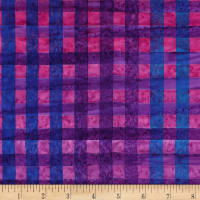 Kaufman Artisan Batiks Hand Painted Gingham Check Grape