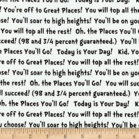 Kaufman Dr. Seuss Oh The Places You'll Go 2 Words Black