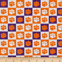 NCAA Cotton Broadcloth Clemson Collegiate Check Clem-1158