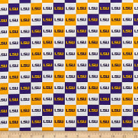 NCAA Cotton Broadcloth  Louisiana Collegiate Check