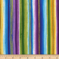 Timeless Treasures Metallic Cottage Grove Watercolor Stripe Multi