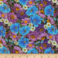 Timeless Treasures Metallic Cottage Grove Packed Wildflowers Multi