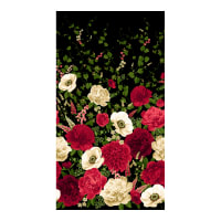 "Timeless Treasures Carina 24"" Peony & Anemone Panel Black"