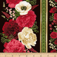 Timeless Treasures Carina Peony & Anemone Stripe Black