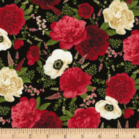 Timeless Treasures Carina Spaced Out Floral Black